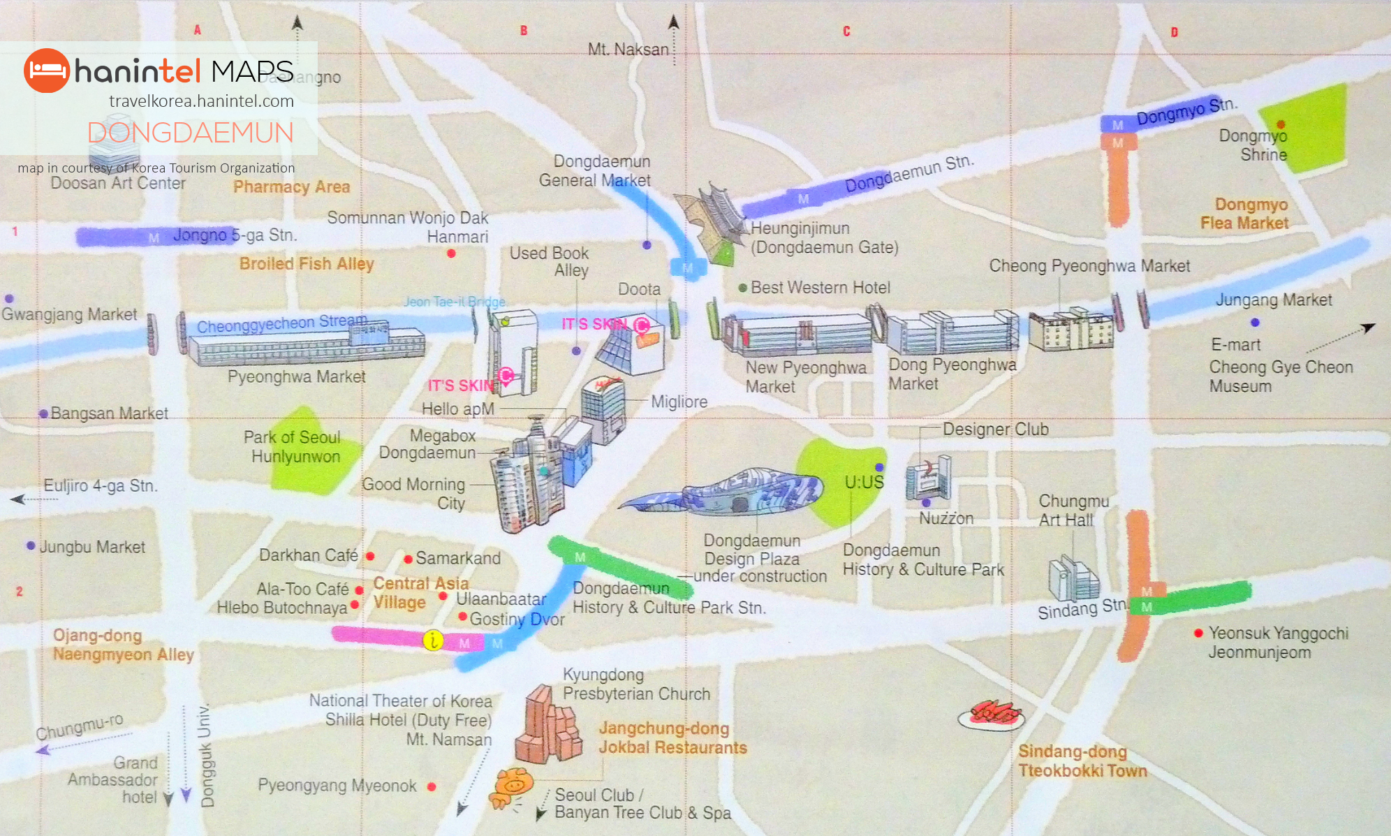 Map Dongdaemun Seoul Hanintel